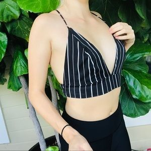 White Black striped crop top